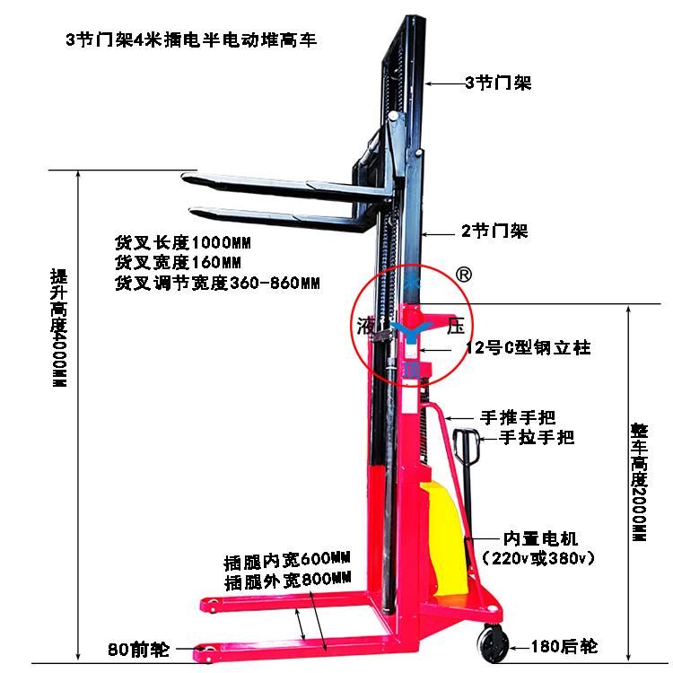 3节门架插电式4米半电动堆高叉车